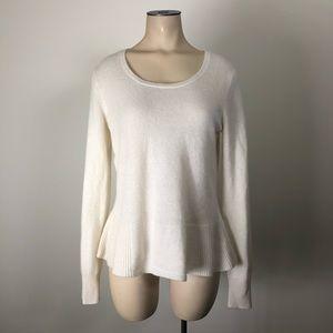 White + Warren Cream Cashmere Peplum Hem Sweater